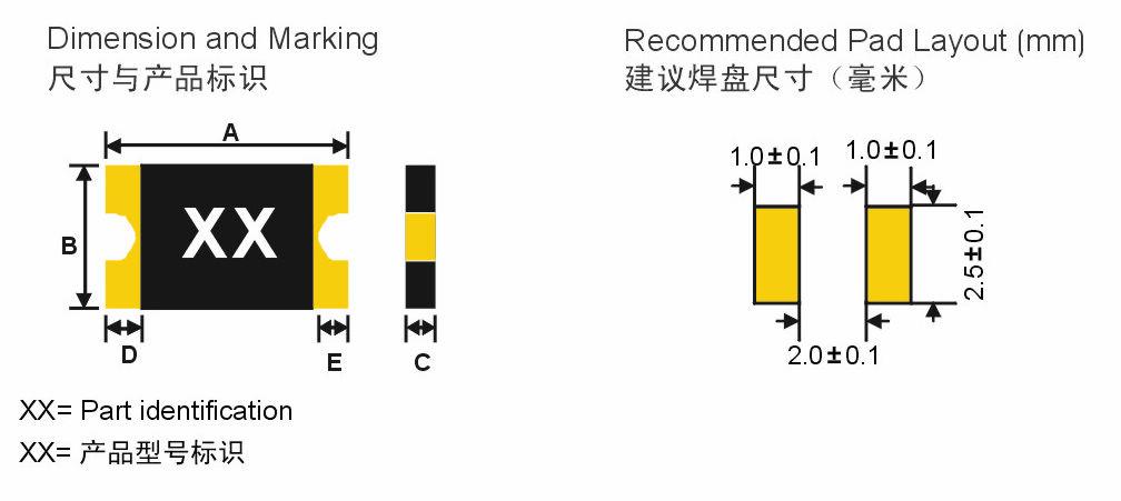 SMD1210系�列自复位过流保护器产品的尺寸和标识