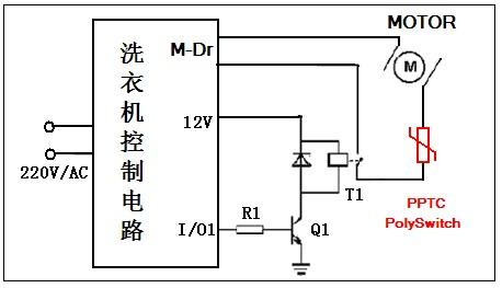 pptc在自动洗衣机的典型保护应用原理图