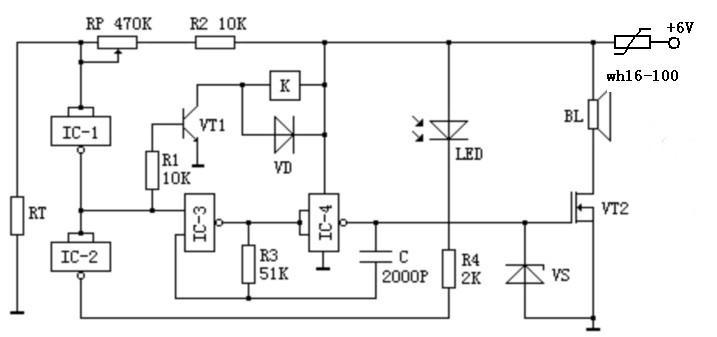 使多谐振荡器起振,通过放大管放大后,由扬声器发出警笛声,同时也加至